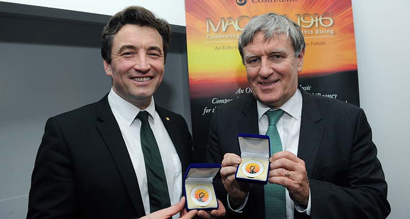 John Concannon, Director of Ireland 2016 Centerary Programme, and Irish Ambassador Dan Mulhall with their commemorative medals. Photo - Malcolm McNally