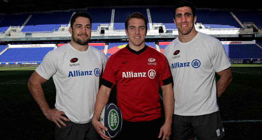 We Deal In Real: Saracens captan Brad Barritt (left), with Chris Wyles (centre) and Kelly Brown