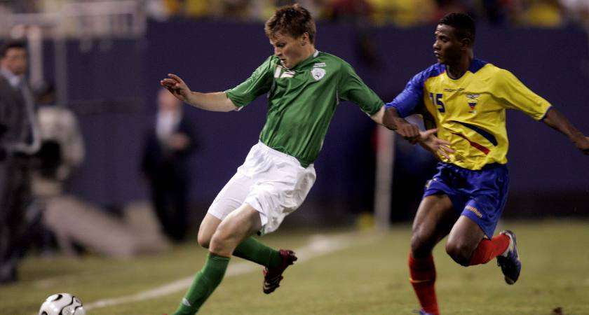 Gleeson playing against Ecuador aged 18 [Mandatory Credit ©INPHO/Donall Farmer]