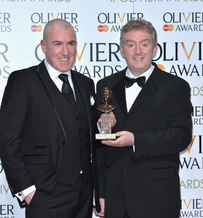 Fishamble's Pat Kinevane and Jim Culleton pose with their Oliver