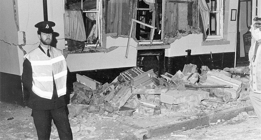 The shattered remains of the Horse and Groom in Guildford following an explosion from an IRA bomb on the 5th October 1974. Five people were killed in the blast. (Photo by Maurice Hibberd/Evening Standard/Getty Images)