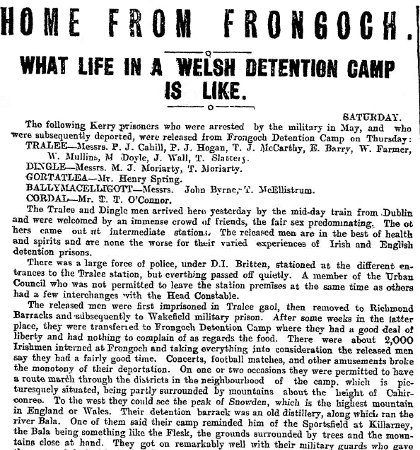 An article from the Kerryman on July 29, 1916 [Picture: The Collins Press]