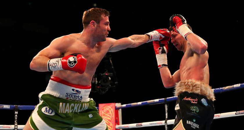 Macklin, left, in action at The O2 Arena on April 9, 2016 in London, England [Picture: Getty]