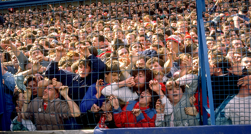 Thousands of fans were crushed against barriers. (Credit: David Cannon/Allsport)