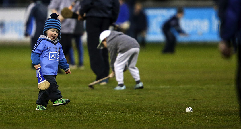 Allianz Hurling League Division 1 Quarter-Final, Parnell Park, Dublin 2/4/2016 Dublin vs Limerick A young Dublin supporter on the pitch at half-time Mandatory Credit ©INPHO/Gary Carr