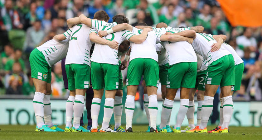 Three International Friendly, Aviva Stadium, Dublin 27/5/2016 Republic of Ireland vs The Netherlands The Ireland team huddle before the game Mandatory Credit ©INPHO/Gary Carr