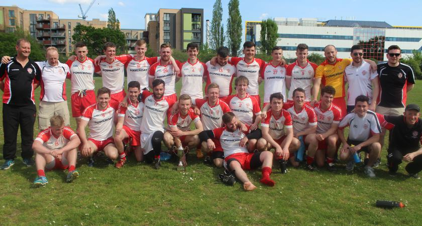 Tir Chonaill Gaels Junior side celebrating in Colindale [Picture: Jamie Casey]