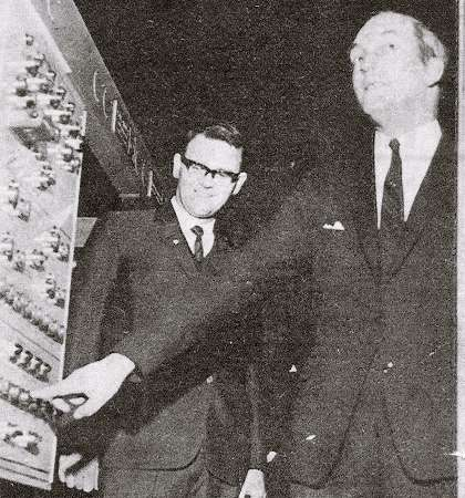 Bernard 'Tony' Beatty, Chairman of The Irish Post, left, and Minister for Industry and commerce George Colley, lqaunch the printing of the first issue of the paper in February 1970
