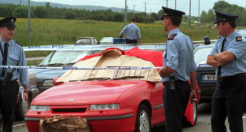 Veronica Guerin's car in the aftermath of her murder. Picture: Photocall Ireland