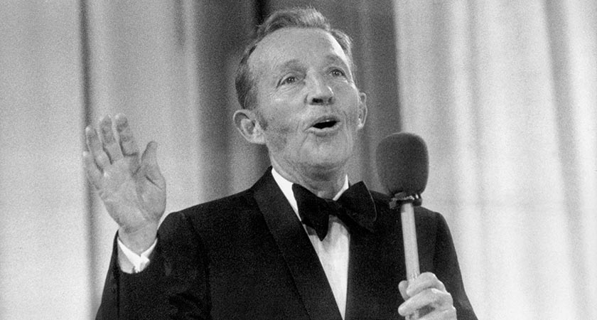 US actor and singer Bing Crosby performs at the Momarkedet opening show with his orchestra in August 1977. (Photo: STF/AFP/Getty Images)