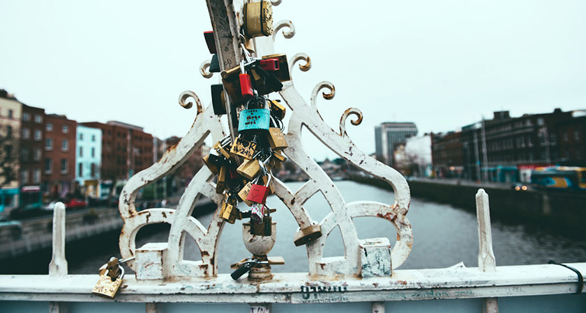 Lovelocks on the Ha'penny Bridge, Dublin.