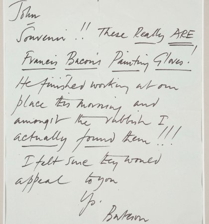 A copy of the letter sent with the gloves from the original owner