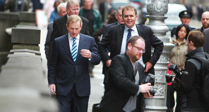 21/9/2011. L TO R. Taoiseach and Fine Gael leader Enda Kenny and TD Joe McHugh arriving at the Irish Human Rights Commission Ten Years On conference in Dublin. Photo:Leon Farrell/RollingNews.ie