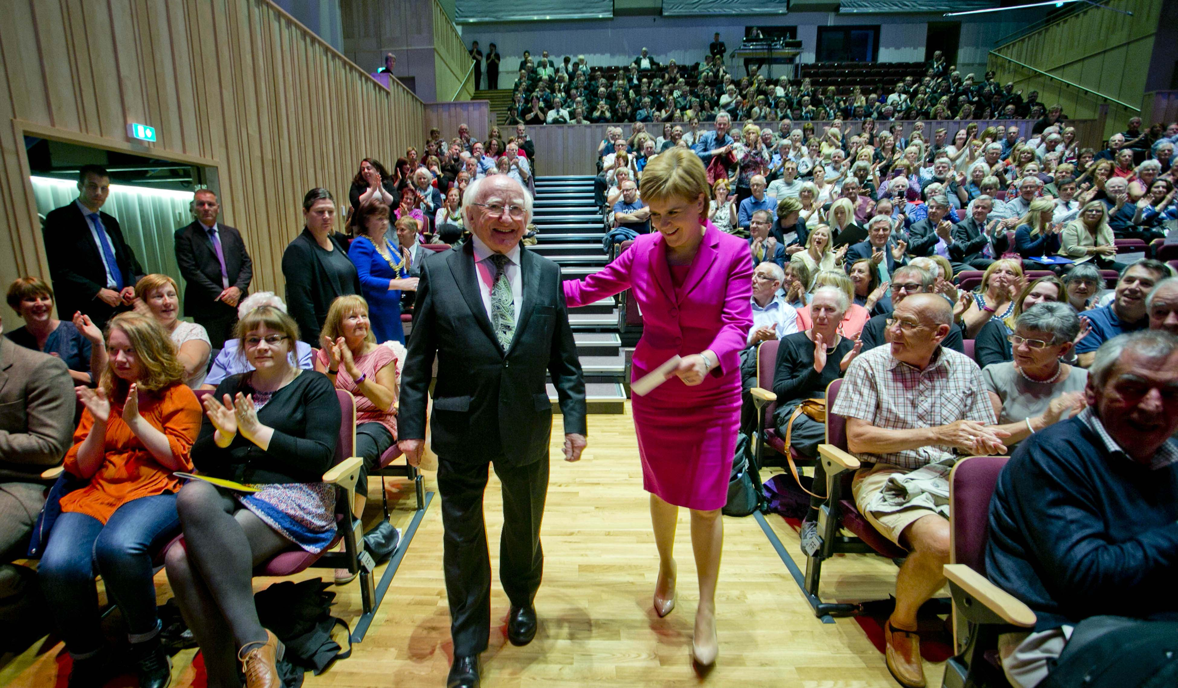 News 27062016. Pictured is President Michael D Higgins with Ms. Nicola Sturgeon, First Minister of Scotland being welcomed at the Ceangal Cultural Performance in the Glasgow Royal Concert Hall, on the 1st day of the Presidents 4 day visit to Scotland. Photo Chris Bellew / Copyright Fennell Photography 2016