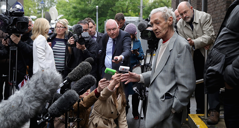 Paddy Hill talks to the press after the hearing