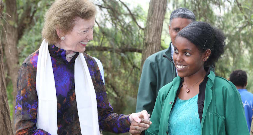 67/2016. The UN Special Envoy for El Nino and Climate Mary Robinson visiting Ethiopia where she visited the Irish Aid program, the Integrated WatershedManagement Programme )where she planted a tree), the Concern Worldwide Ethiopia's CMAM(Community Management of Acute Malnutrition) programme and the Women's Cooperative Grain Bank programme. Our picture shows Mary Robinson at Irish Aid's Gergera Farmers Rural Resource Centre with farmer Mebrihit Gitsadik. Our photograph shows (With Compliments) Photograph Liam Burke/Press 22
