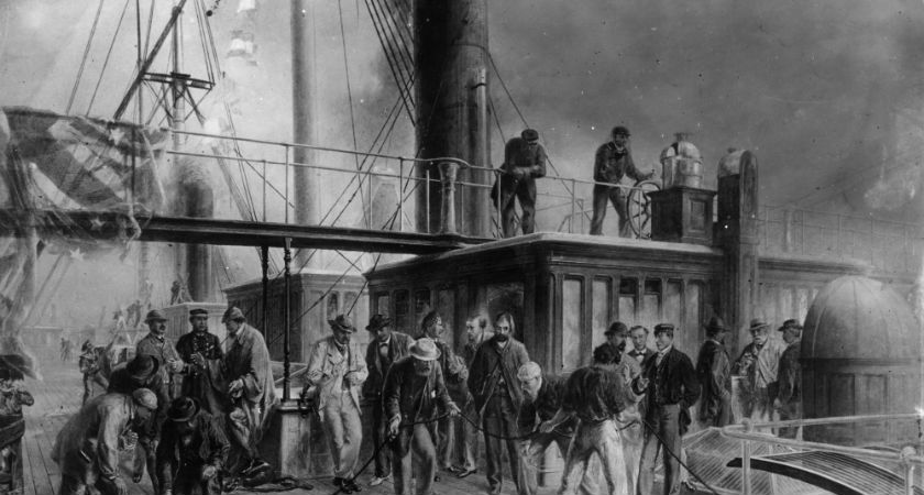 1866: Brunel's steamship the 'Great Eastern' recovers the lost Atlantic Telegraph Cable. Original Artist: By R Dudley (Photo by Rischgitz/Getty Images)