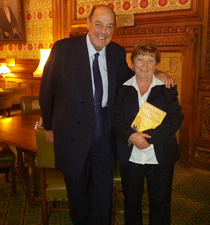 Noeleen pictured with Nicholas Soames MP, grandson of Winston Churchill