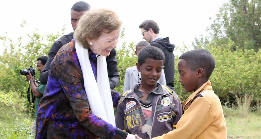 67/2016. The UN Special Envoy for El Nino and Climate Mary Robinson visiting Ethiopia where she visited the Irish Aid program, the Integrated WatershedManagement Programme )where she planted a tree), the Concern Worldwide Ethiopia's CMAM(Community Management of Acute Malnutrition) programme and the Women's Cooperative Grain Bank programme. Our picture shows Mary Robinson in Gergera Farmers Resouce Centre with two boys Korem Mehari(12) and Tsegabu Kassay(12) who promised her they would look after the tree she planted. (With Compliments) Photograph Liam Burke/Press 22