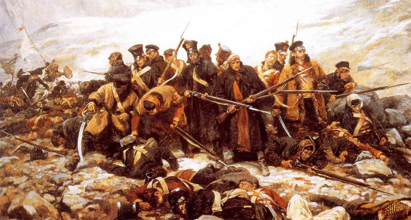 The last stand of survivors of Her Majesty's 44th Foot at Gandamak, 1842. (Source: Wikipedia)