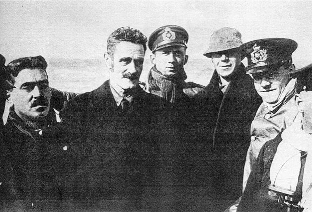 Casement on a German U-boat on the way to Ireland, April 1916. (Source: Anphoblacht)