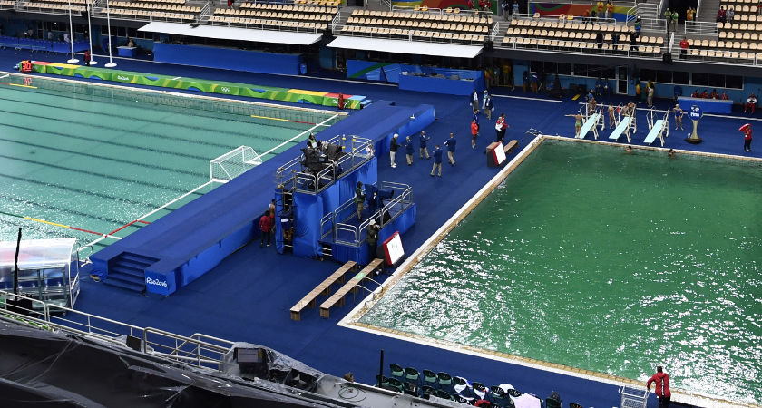 The water polo (L) pool and the diving pool of the Rio 2016 Olympic Games [Picture: Getty]