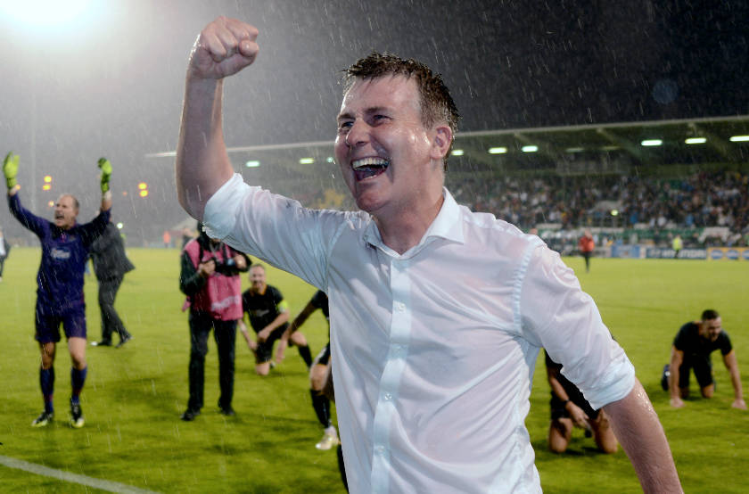 Dundalk boss Stephen Kenny celebrates the win after the game ©INPHO/Ciaran Culligan