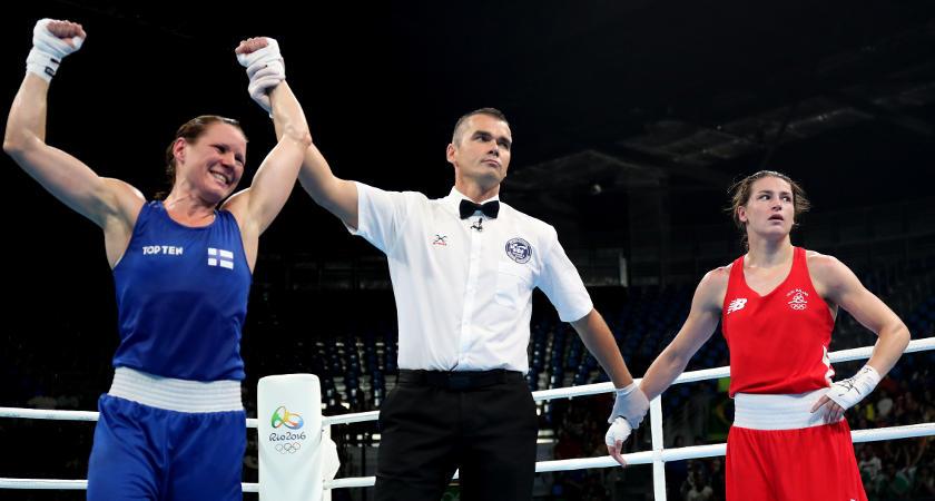 Mira Potkonen is declared the winner [©INPHO/Dan Sheridan]