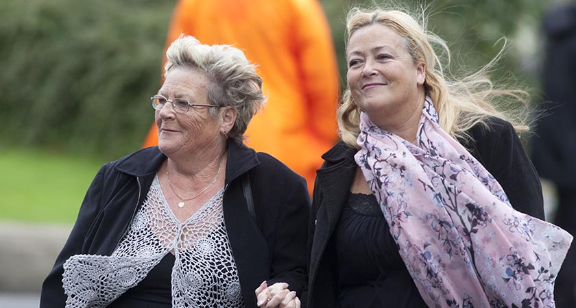 Sister of Jackie Dudy, Kay Duddy (L) arriving for the funeral mass of Bishop Edward Daly. Photo: RollingNews.ie