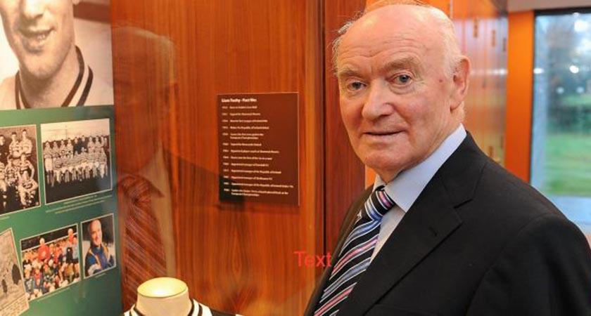 Liam Tuohy pictured beside a dedicated alcove to him at FAI HQ passed away last Saturday (Source FAI.IE)
