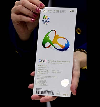 A ticket for the Rio Olympics seized during a search of an apartment after the arrest of Kevin Mallon bears the logo of the Olympic Council of Ireland. (Photo credit should read TASSO MARCELO/AFP/Getty Images)