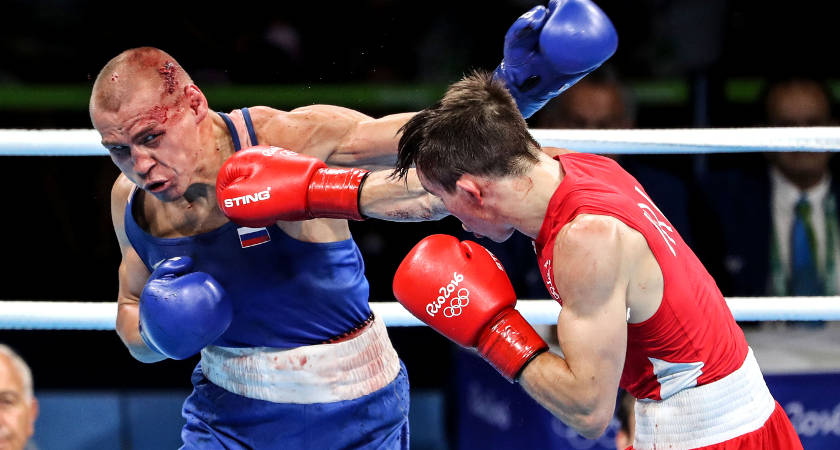 Rio 2016 Olympic Games Day 11, Riocentro Pavilion, Rio de Janeiro, Brazil 16/8/2016 Men's Bantamweight 56kg Quarter-Final Michael Conlan (Red) vs Vladimir Nikitin (Blue) Ireland's Michael Conlan in action against Vladimir Nikitin of Russia Mandatory Credit ©INPHO/Dan Sheridan