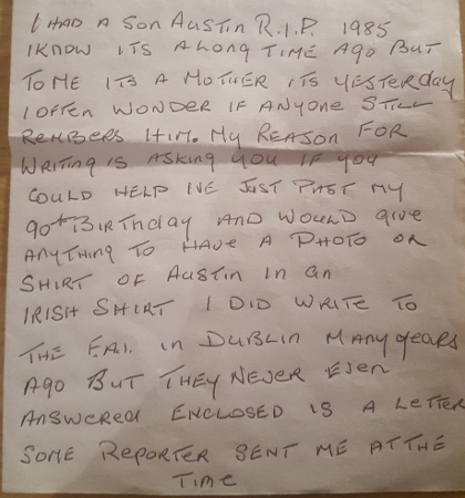 Patsy Hayes letter