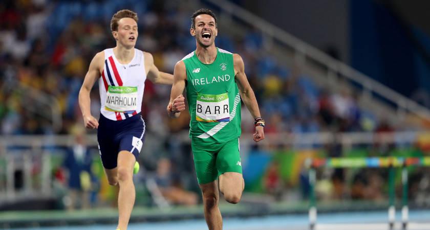 Ireland's Thomas Barr celebrates coming first in his semi-final [©INPHO/Dan Sheridan]