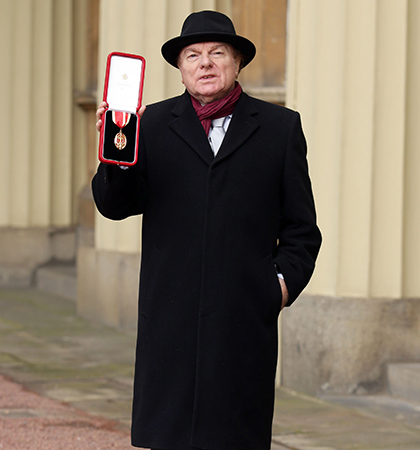 Van Morrison at Buckingham Palace, after being knighted by the Prince of Wales on February 4, 2016