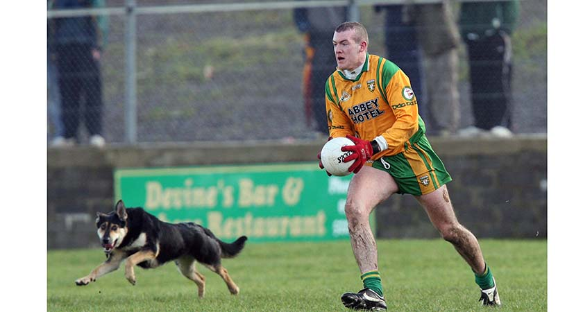 National Football League 25/2/2007 Donegal Neil Gallagher of Donegal plays on despite a dog running onto the pitch Mandatory Credit ©INPHO/Andrew Paton