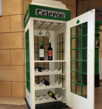 An Irish Telephone Box that doubles as a wine cabinet