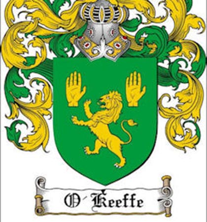 The coat of arms for the O'Keeffe family (Source (Okeeffe clan website)