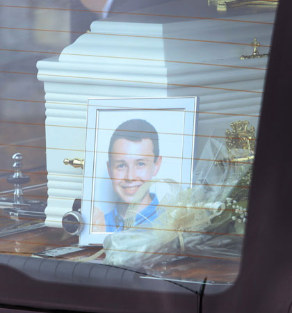 The coffin of Liam Hawe arrives at the church for the funeral Mass (Photo: RollingNews.ie)