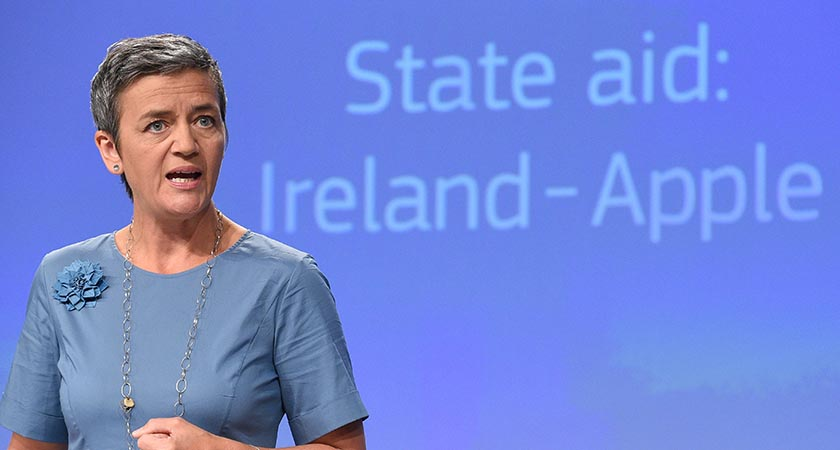 EU Competition Commissioner Margrethe Vestager order Apple to pay 13 billion euros in back taxes, in Brussels on August 30, 2016. (Photo JOHN THYS/AFP/Getty Images)