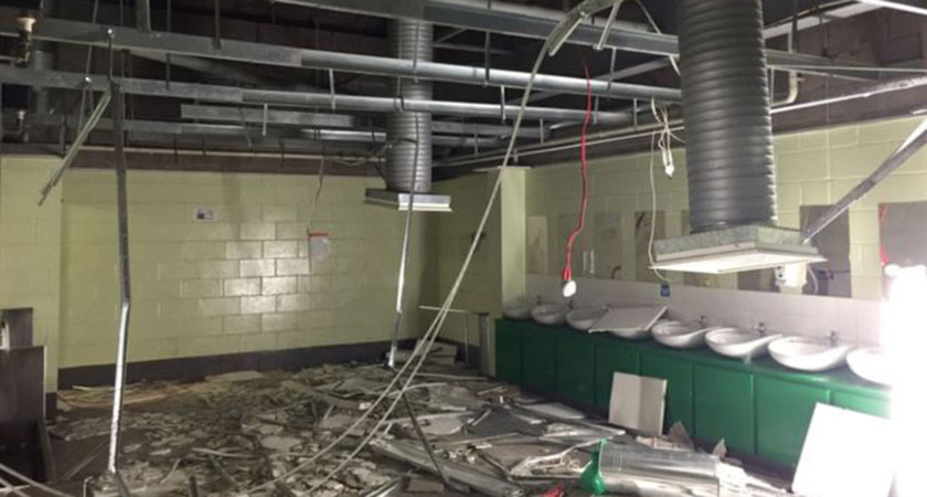 The pictures on social media appeared to show extensive damage to a toilet block at Celtic Park