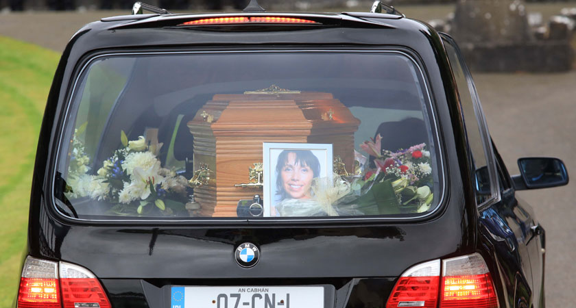 The coffin of Clodagh Hawe arrives at the Church of St Mary (Photo: RollingNews.ie)