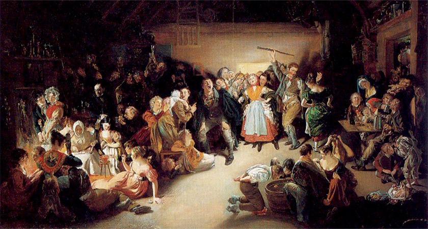 An 1833 painting of Irish Halloween revellers