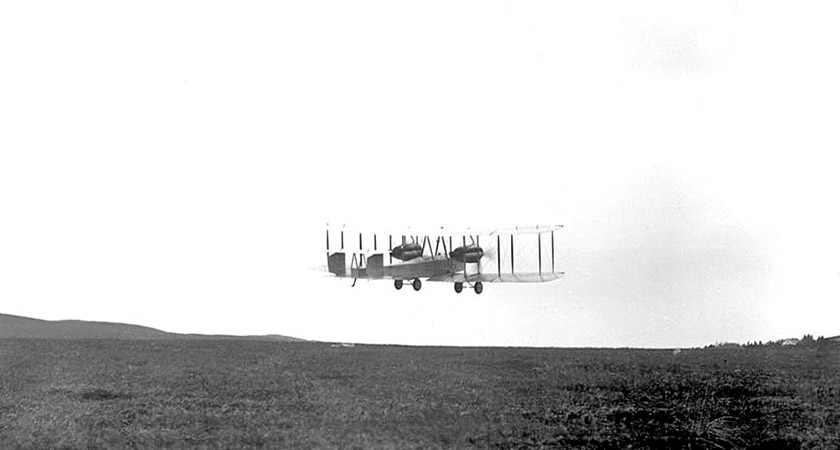 Alcock and Brown taking off from St John's, Newfoundland [Picture: Wikipedia Commons]