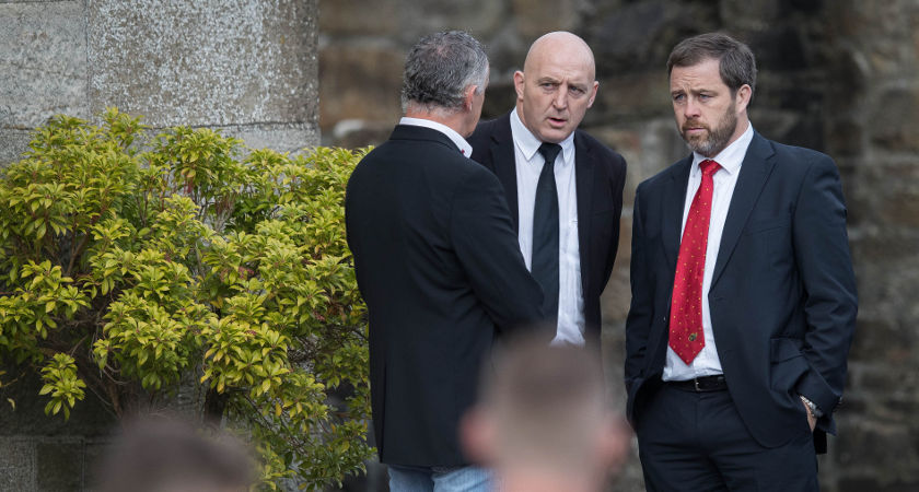 Former Munster and Ireland players Keith Wood and Marcus Horan arrive for the funeral [©INPHO/Ryan Byrne]