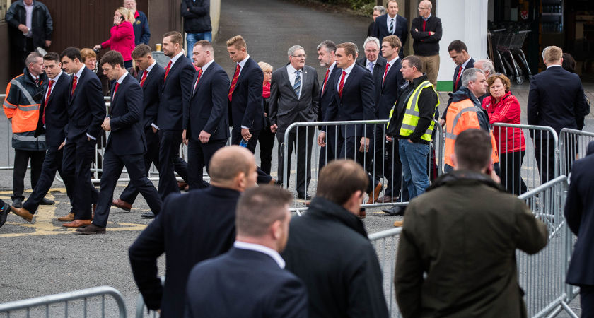 Munster players arrive for the funeral of former Munster Rugby head coach Anthony Foley [©INPHO/Ryan Byrne]