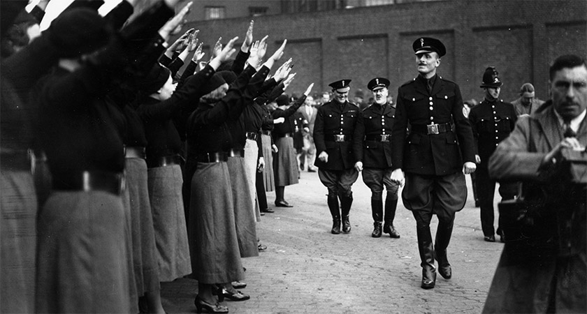 Oswald Mosley inspecting his troupe that day [Source: Becker/Fox Photos/Getty]
