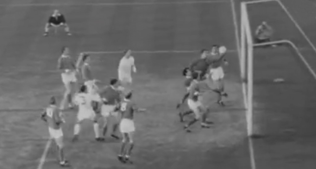 Dunne makes a save against Leeds in 1965 [Picture: YouTube]