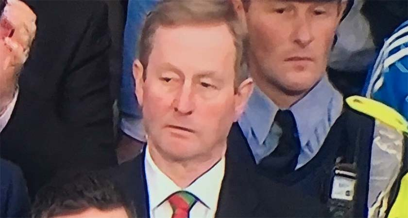Eagle eyed viewers spotted something amiss with Taoiseach Enda Kenny and the Gard behind him at Saturday's All Ireland Final Replay. (Credit ©INPHO/Morgan Treacy)