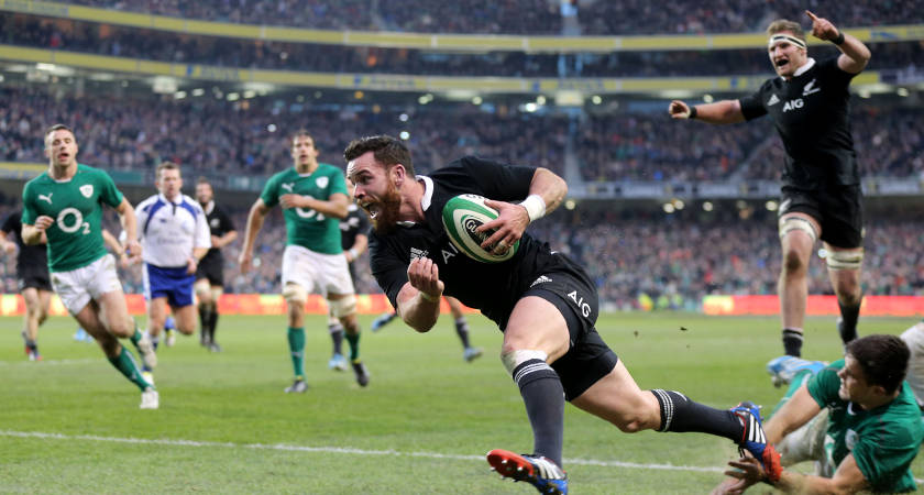 New Zealand's Ryan Crotty crosses the line to score the last try of the game [©INPHO/James Crombie]
